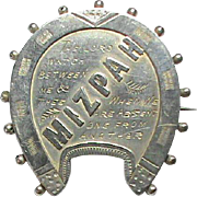 Antique Victorian 1890 Sterling Silver MIZPAH Horseshoe Brooch