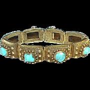 Vintage Chinese Art Deco Silver Gilt Turquoise Bracelet