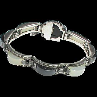 Vintage Art Deco Sterling Silver Gemstone & Marcasite Bracelet