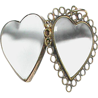 Antique Georgian 18k Gold Double Sided Heart Locket Pendant