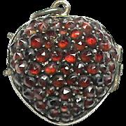 Antique Victorian Gold & Sterling Silver Garnet Heart Locket Pendant