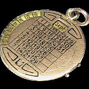 Antique Victorian c1900 9k Gold Enamel Perpetual Calendar Fob