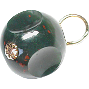 Antique Victorian 9k Gold Agate Ball Fob
