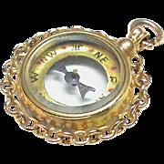 Antique Victorian 9k Gold Compass Fob Pendant