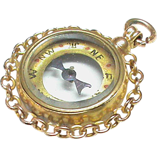 Antique Victorian 9k Gold Compass Fob Pendant