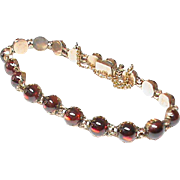Antique Victorian 9k Rose Gold & Garnet Bracelet