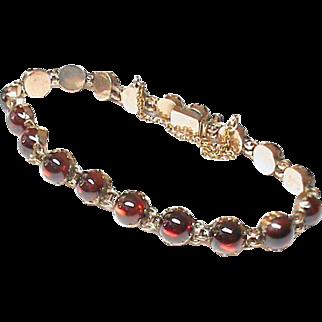 Antique Victorian 9k Rose Gold & Garnet Bracelet