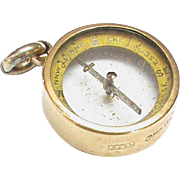 English Antique Edwardian 1901 15k 15ct Gold Compass Fob