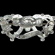 Antique Edwardian 1908 Sterling Silver MIZPAH Brooch