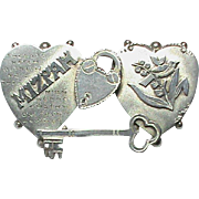 Antique Edwardian 1901 Sterling Silver MIZPAH Brooch with key & padlock