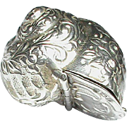Antique Victorian English 1894 Sterling Silver Shell Box