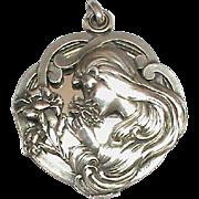 Superior Art Nouveau French Silver 800-900 E.DROPSY Sliding Mirror Pendant