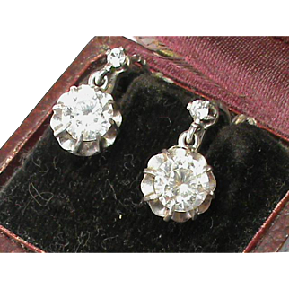 Antique Victorian French Silver 800-900 Rock Crystal Quartz Earrings with box (not paste)