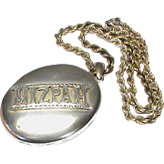 Antique Victorian Sterling Silver Large MIZPAH Locket and chain