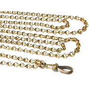 Antique Victorian Gold Filled Faceted Long Guard Chain 40.9g 52""