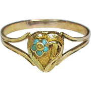 Antique Georgian 18k Gold Turquoise Forget-me-not Heart Poison Locket Ring