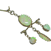 Antique Victorian Sterling Silver gilt Opal Pendant Necklace with heart drop