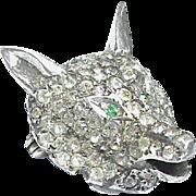 Antique Edwardian Sterling Silver Paste Fox Head Brooch