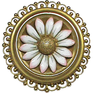 Antique Victorian 18k Gold Enamel Daisy Flower Brooch with Locket compartment