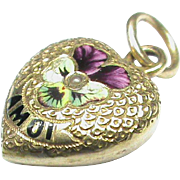 Antique Victorian 15k 15ct Gold Enamel PANSY Heart Charm 'A MOI'