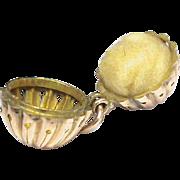 Antique Victorian 9k 9ct Rose Gold Pomander Vinaigrette Ball Fob Pendant or Charm