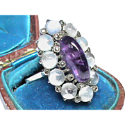 Arts & Crafts Sterling Silver Amethyst, Moonstone & Marcasite Ring