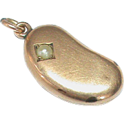 Antique Victorian c1900 9k Gold & Seed Pearl Coffee Kidney Bean Charm