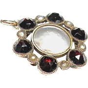 Small Antique Victorian 9k 9ct Rose Gold Garnet Seed Pearl Locket Charm Pendant