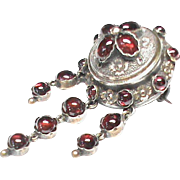 Antique Victorian French Silver 800-900 Garnet Brooch with gold decor