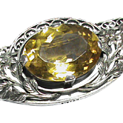 Large Arts & Crafts Sterling Silver Citrine Brooch