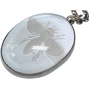 Antique Victorian Sterling Silver Reverse Intaglio Fly Insect Pendant Necklace