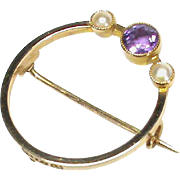 Vintage Art Deco Quality 15k Gold Amethyst & Seed Pearl Brooch