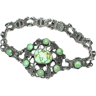 Antique English Arts & Crafts Sterling Silver Turquoise Bracelet By Zoltan White & Co