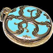 Antique Victorian Gold filled Blue Enamel Locket Charm Pendant