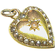 Antique Victorian 18k 18ct Gold Seed Pearl DOUBLE SIDED Heart Charm Pendant - French