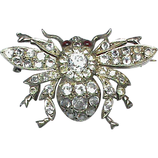 Antique Victorian Sterling Silver Paste BEE Brooch