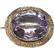Antique Victorian 9k Gold Brooch with a large Amethyst Gemstone
