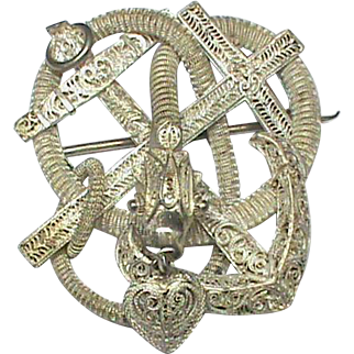 Large Victorian 19th Century Sterling Silver Filigree Faith Hope & Charity SNAKE Brooch with heart charm