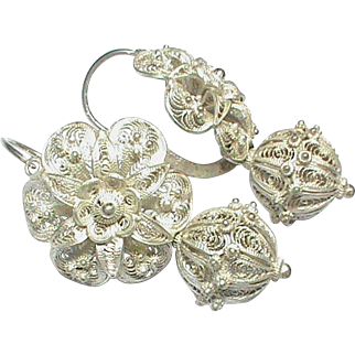 Big Antique Victorian 19th Century Sterling Silver Filigree Earrings