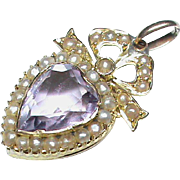 Antique Victorian 9k Gold Amethyst & Seed Pearl Heart Pendant