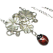 Quality Antique Art Nouveau French Silver 800 Enamel Necklace with ladybird and strawberries
