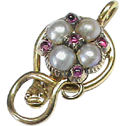 Small Antique Victorian 15k 15ct Gold Natural split Pearl & Ruby SNAKE Pendant
