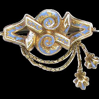 Big Antique Victorian 15k Gold Blue / White Enamel Tassel Brooch 8g with box