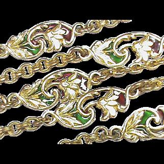 Antique Art Nouveau Gold Fill Plique-a-jour Enamel Long Guard Chain Necklace
