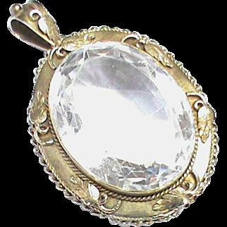 Antique Victorian Sterling Silver gilt Large Rock Crystal Pendant