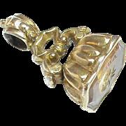 Antique Victorian Gold Fill Citrine Flower Intaglio Seal Charm ADIEU Farewell