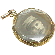 Antique Edwardian French 18k 18ct Gold Double Sided Locket Pendant