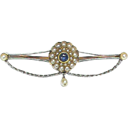 Antique Edwardian 15k Gold & Platinum Sapphire & Seed Pearl Brooch with box