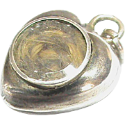 Antique Victorian Sterling Silver small Heart Charm with locket