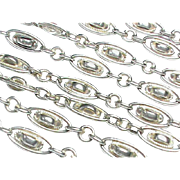 Antique French Silver 800-900 Long Guard Chain Necklace 52.5""